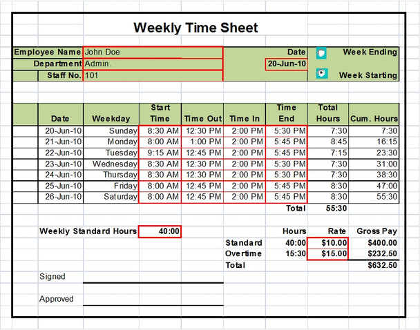 Timesheet Template Excel Weekly