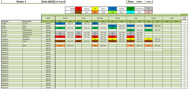 Weekly Staff Rostering / Employee Scheduling Excel Template
