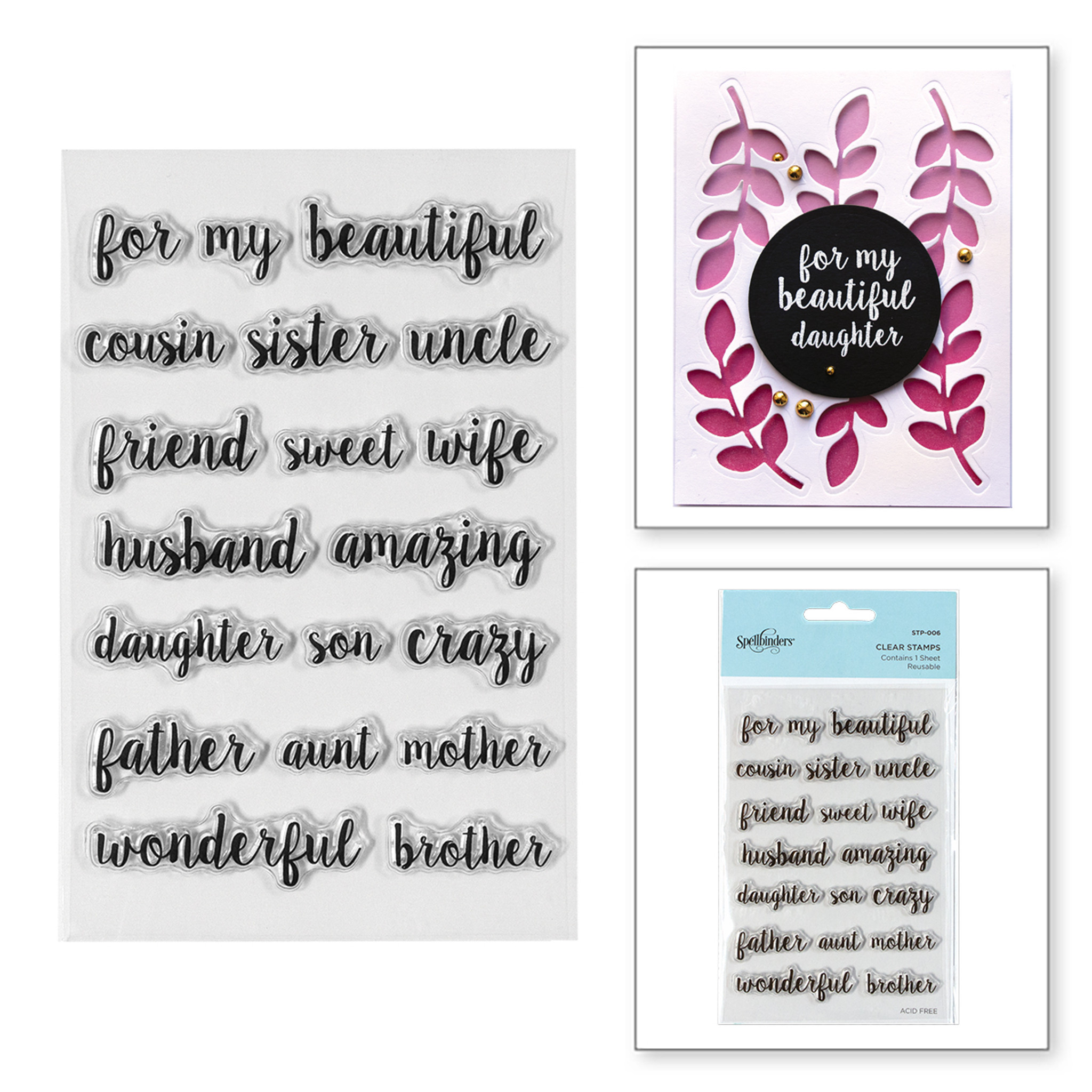 New Spellbinders Clear Stamps Happy Sentiments  STP-002