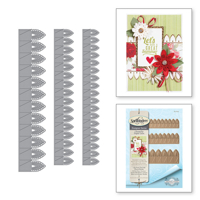 Shapeabilities Lilly Pearl Flat Fold Flower/Border Etched Dies Chantilly Paper Lace Collection by Becca Feeken