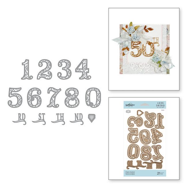Shapeabilities Filigree Numbers Etched Dies Elegant 3D Vignettes by Becca Feeken