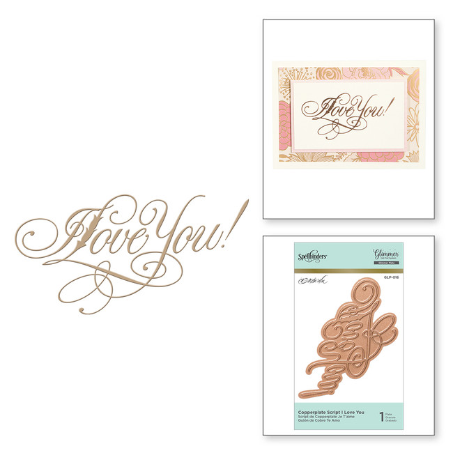 Copperplate Script I Love You Glimmer Hot Foil Plate by Paul Antonio