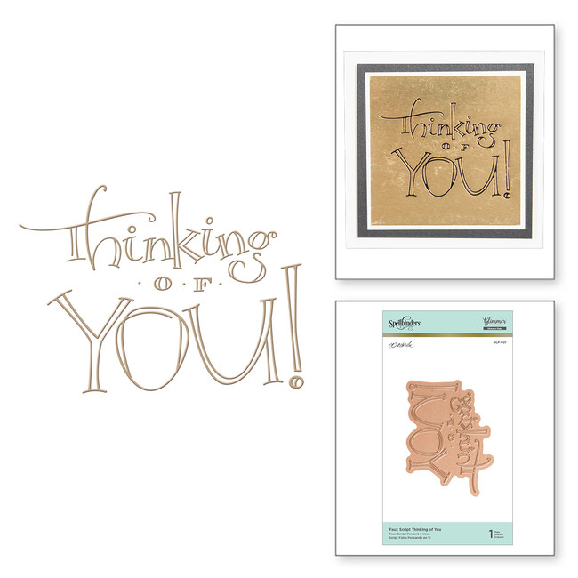 Faux Script Thinking of You Glimmer Hot Foil Plate by Paul Antonio