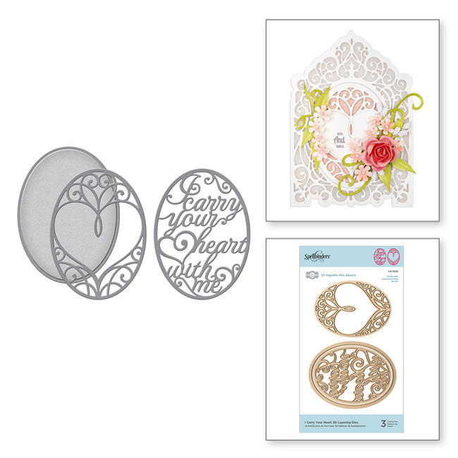 Shapeabilities I Carry Your Heart 3D Layering Dies Etched Dies 3D Vignette Mini Album Collection by Becca Feeken