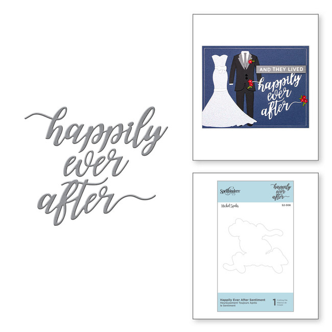 Die D-Lites Happily Ever After Sentiment Etched Dies Wedding Season by Nichol Spohr