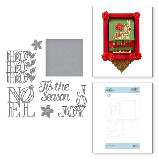 Holiday Word Blocks Etched Dies Christmas Cascade Collection by Becca Feeken