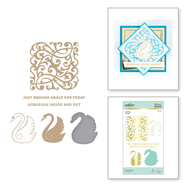 Graceful Swan Glimmer Hot Foil Plate & Die Set Sweet Cardlets by Becca Feeken