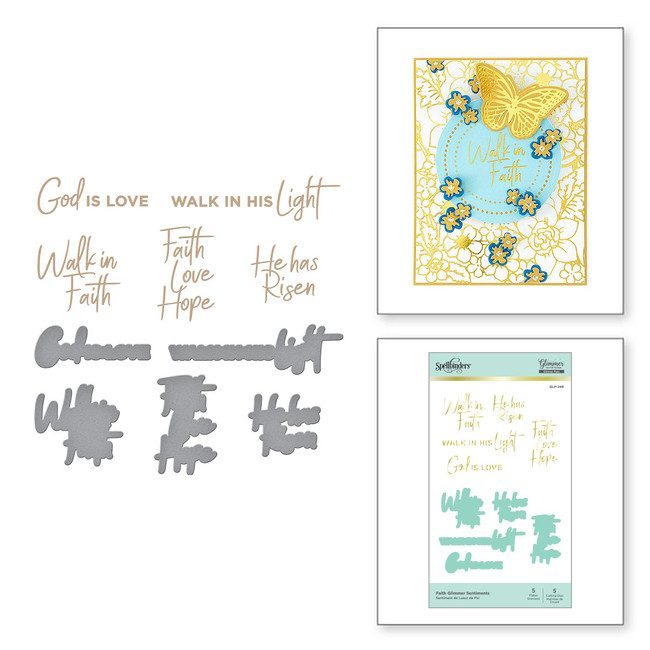 Faith Glimmer Sentiments Glimmer Hot Foil Plate & Die Set from Expressions of Faith