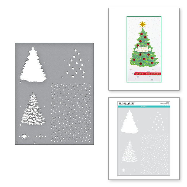Layered Christmas Tree Stencil from the Trim the Tree Collection