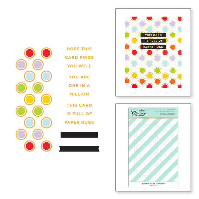 Spot on Background & Sentiments - Glimmer Hot Foil Kit of the Month (Plates Only)