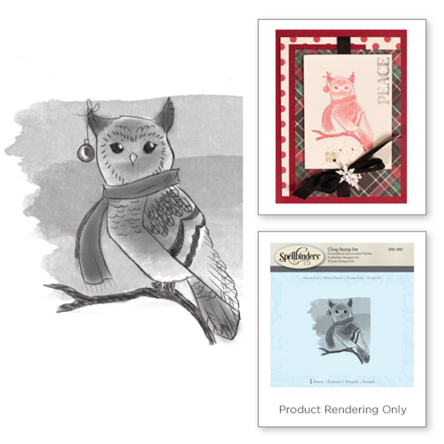 Winter Owl Holiday 3D Shading Stamps