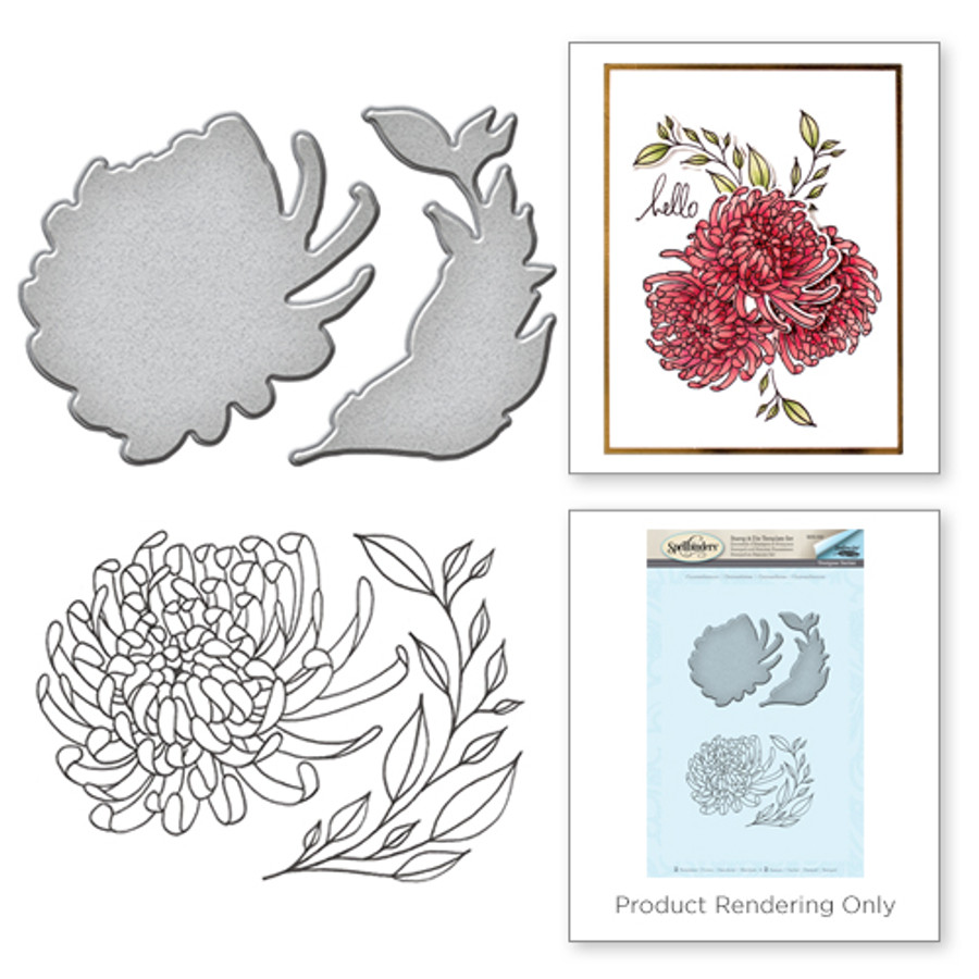 Chrysanthemum Stamp and Die Set  from the Earth Air Water Collection by Stephanie Low