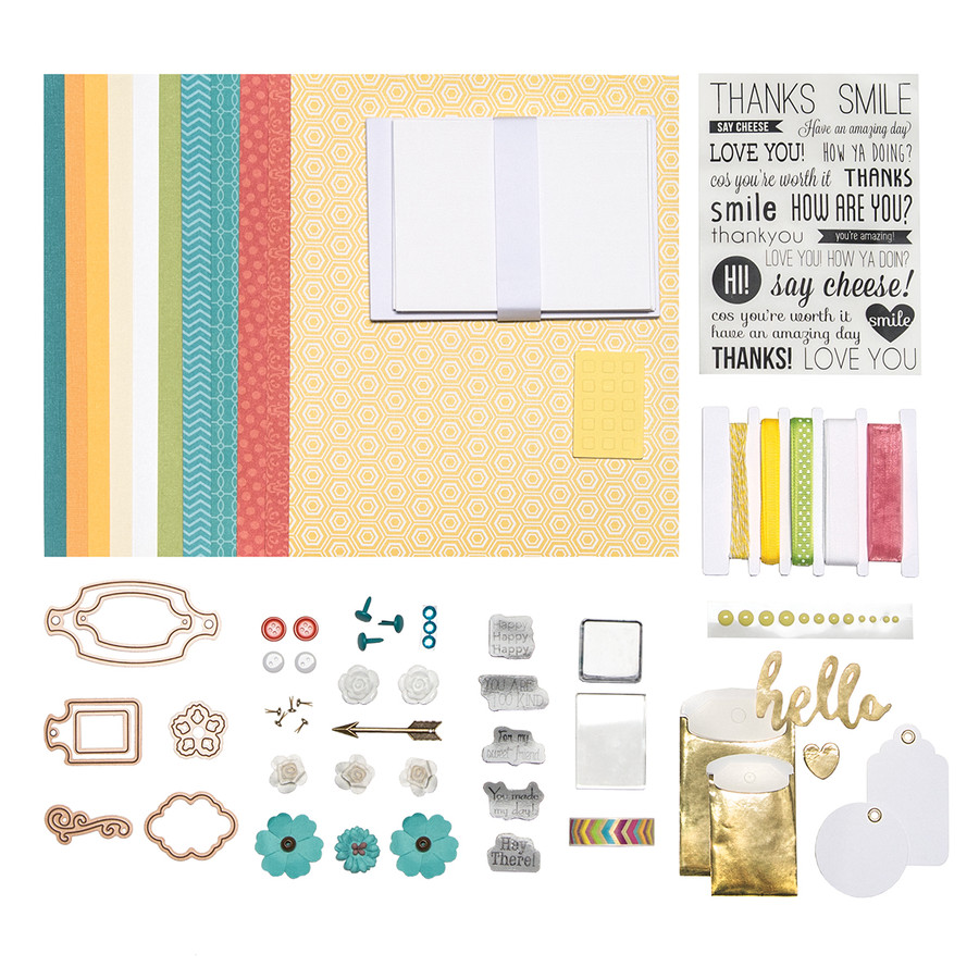 Yellow, Teal, & Coral  A Pop of Color Card Kit - Card Kit of the Month Club