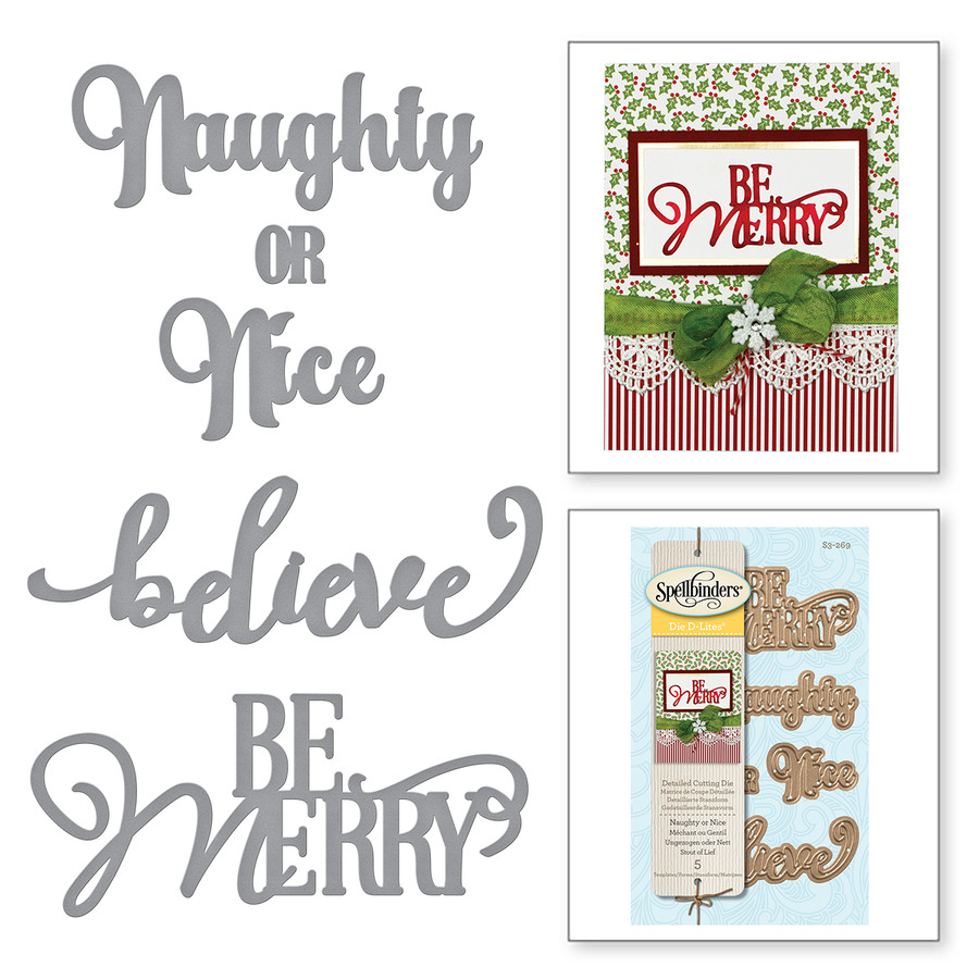 Die D Lites Naughty or Nice Holiday 2017 Etched Dies
