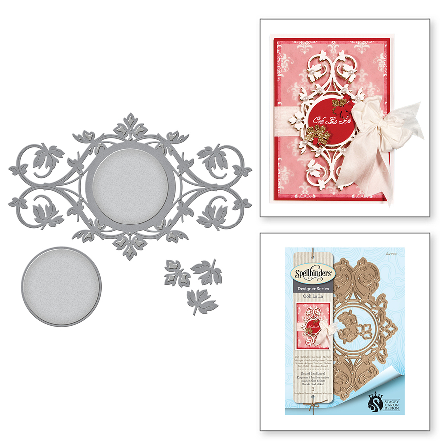 Shapeabilities Round Leaf Label Etched Dies Ooh La La Collection by Stacey Caron