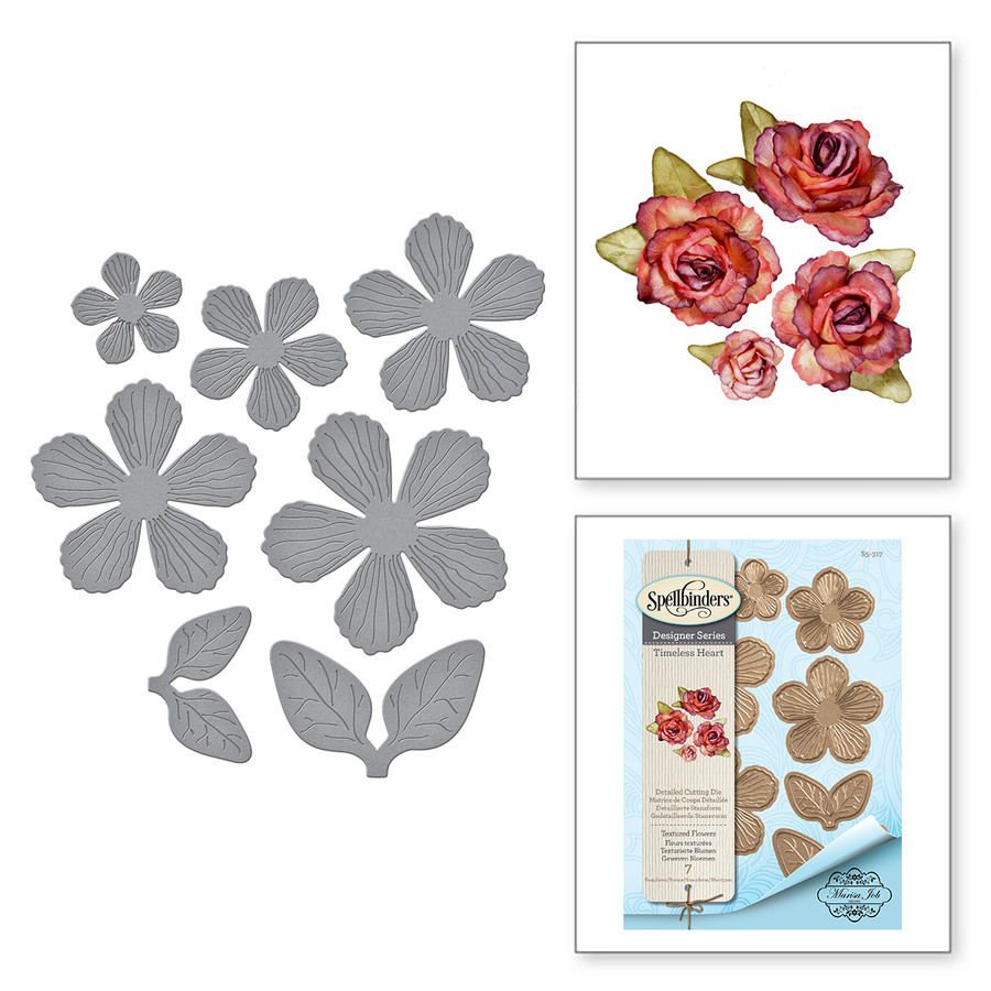 Shapeabilities Textured Flowers Etched Dies Timeless Heart Collection by Marisa Job
