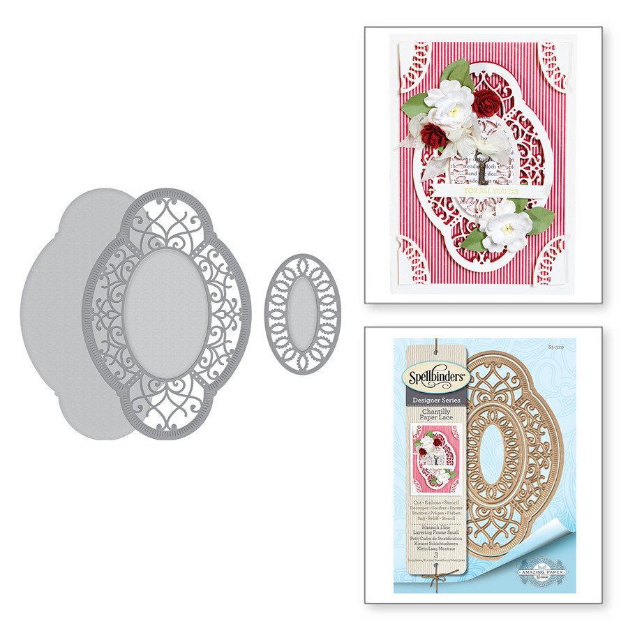 Shapeabilities Hannah Elise Layering Frame Small Etched Dies Chantilly Paper Lace Collection by Becca Feeken