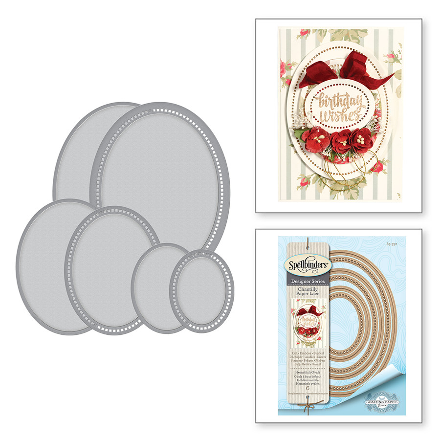 Nestabilities Hemstitch Ovals Etched Dies Chantilly Paper Lace Collection by Becca Feeken