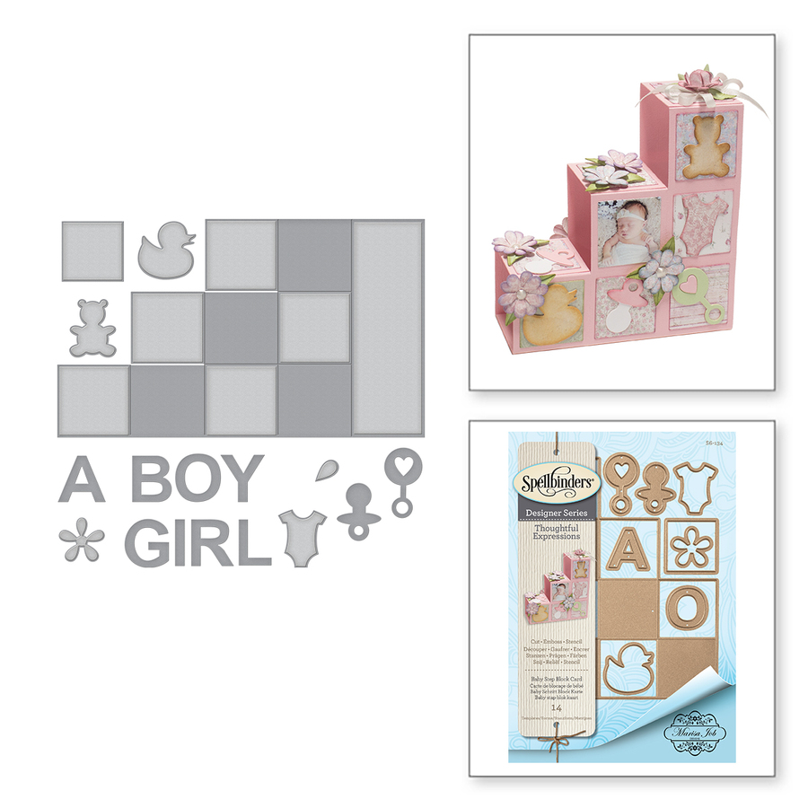 Shapeabilities Baby Step Block Card Etched Dies Thoughtful Expressions by Marisa Job
