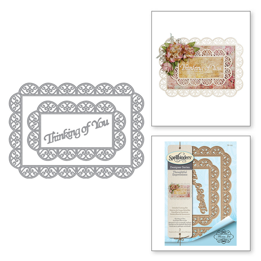 Shapeabilities Thinking of You Scalloped Rectangle Etched Dies Thoughtful Expressions by Marisa Job