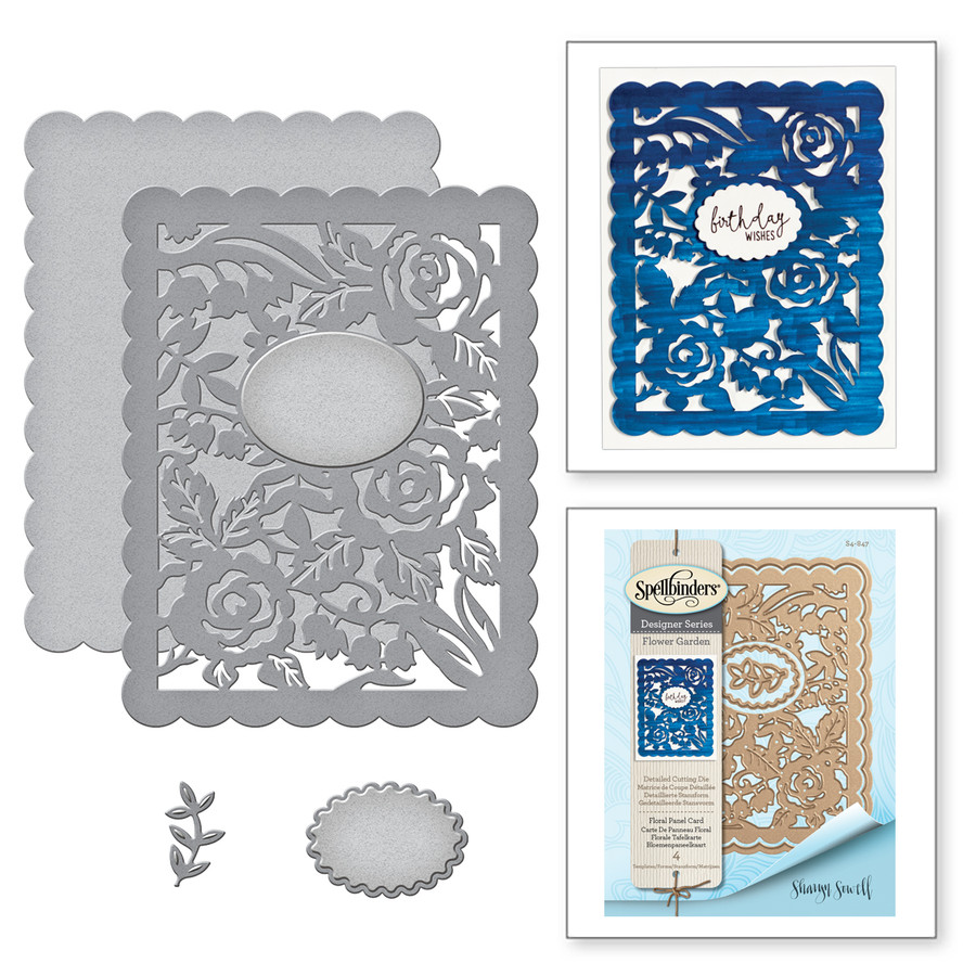 Card Creator Floral Panel Card Etched Dies Flower Garden by Sharyn Sowell
