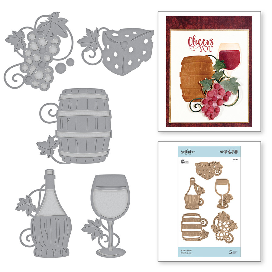 Shapeabilities Wine Charms Etched Dies Wine Country by Stacey Caron