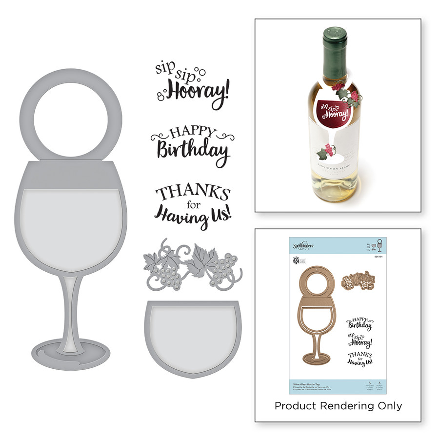 Wine Glass Bottle Tag Stamp and Die Set Wine Country by Stacey Caron