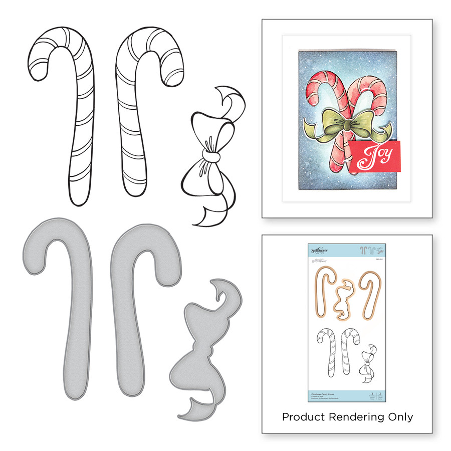 Christmas Candy Canes Stamp and Die Set Zenspired Holidays by Joanne Fink