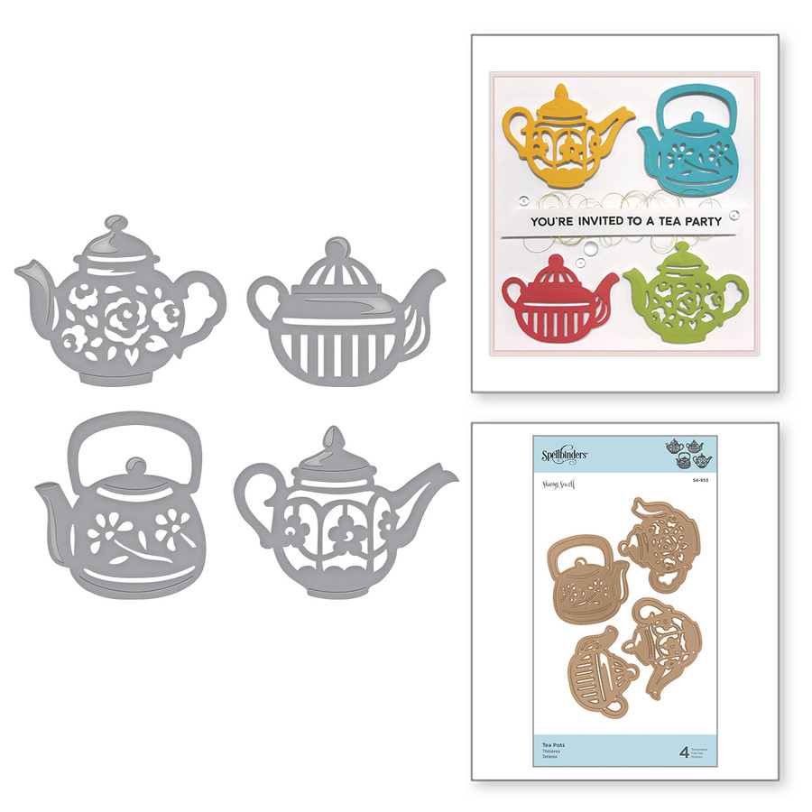 Shapeabilities Tea Pots Etched Dies Cuppa Coffee, Cuppa Tea Collection by Sharyn Sowell
