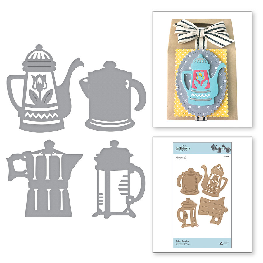 Shapeabilities Coffee Brewing Etched Dies Cuppa Coffee, Cuppa Tea Collection by Sharyn Sowell