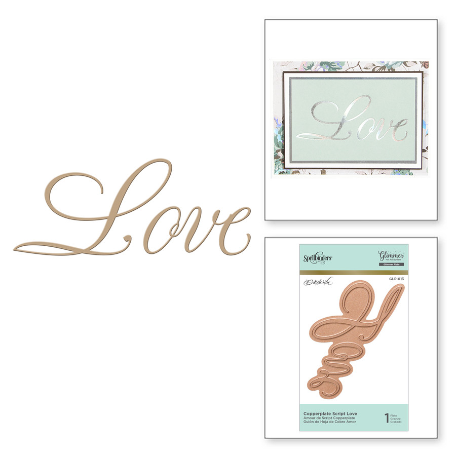 Copperplate Script Love Glimmer Hot Foil Plate by Paul Antonio