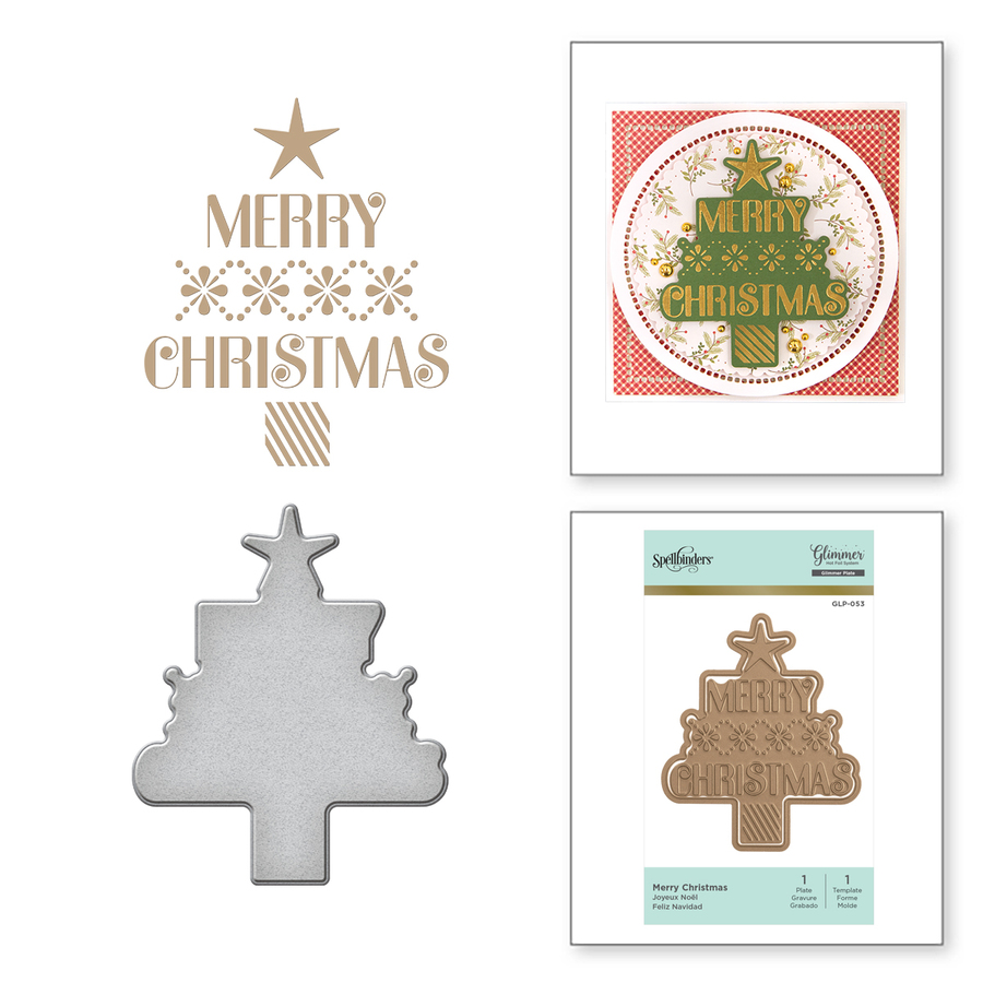 Merry Christmas Holiday Glimmer Hot Foil Plate