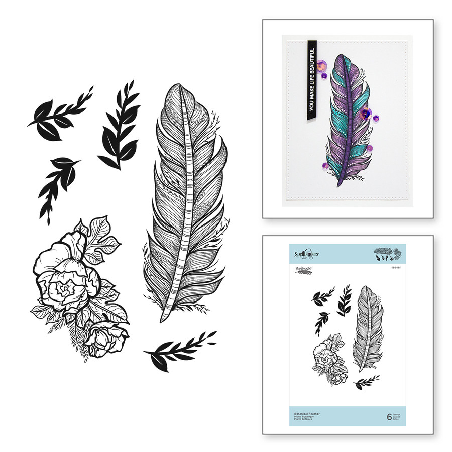 Botanical Feather Cling Rubber Stamps Just Add Color Collection by Stephanie Low