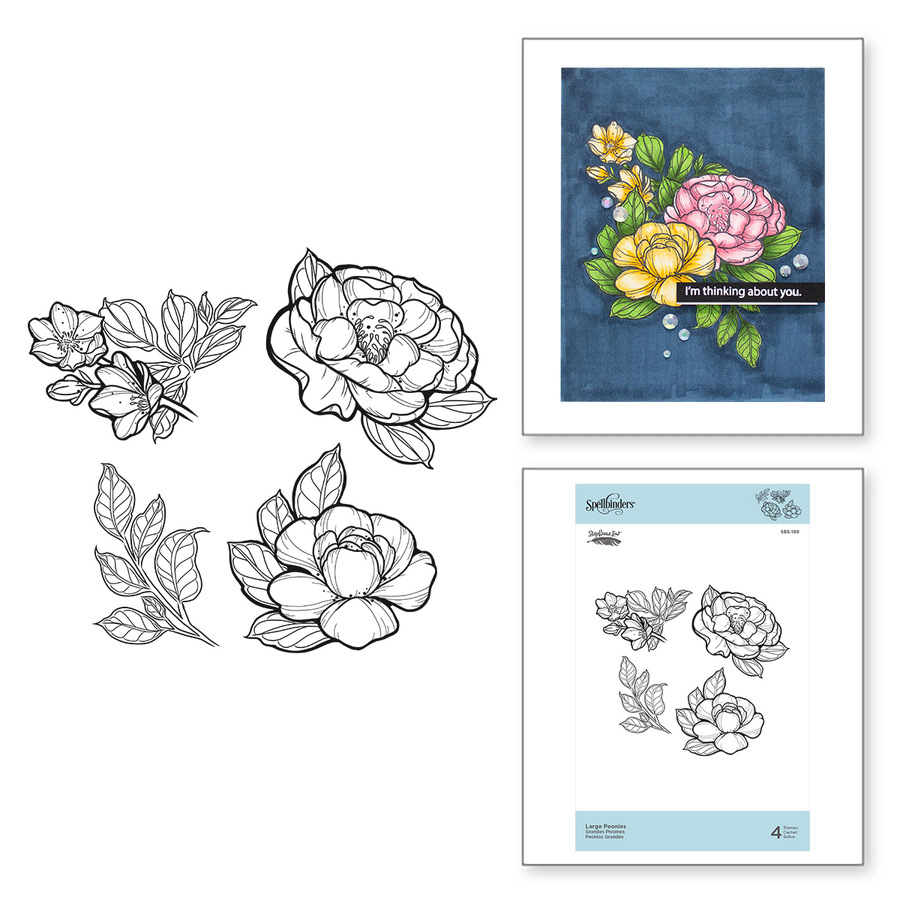 Large Peonies Cling Rubber Stamps Just Add Color Collection by Stephanie Low