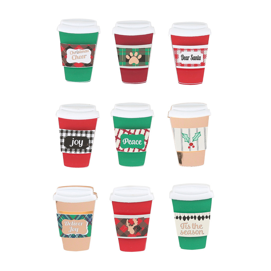 Christmas Cheer Coffee Cup Chipboard Embellishments