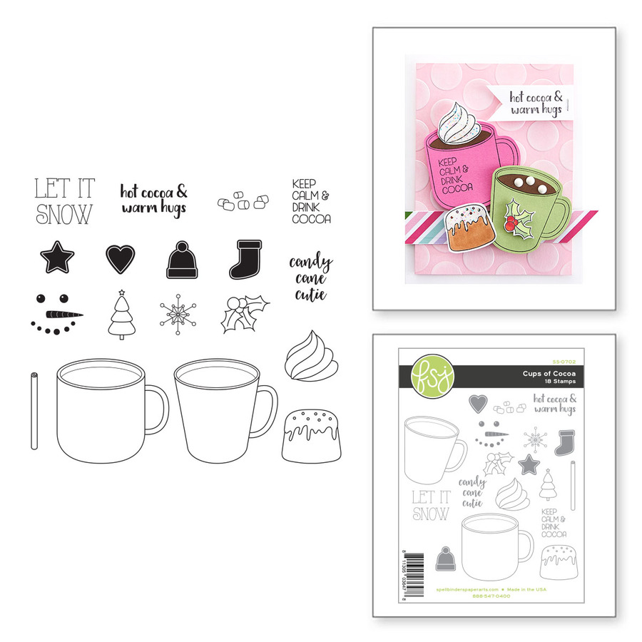 Cups of Cocoa Clear Photopolymer Stamp Set from the FSJ Christmas 2020 Collection