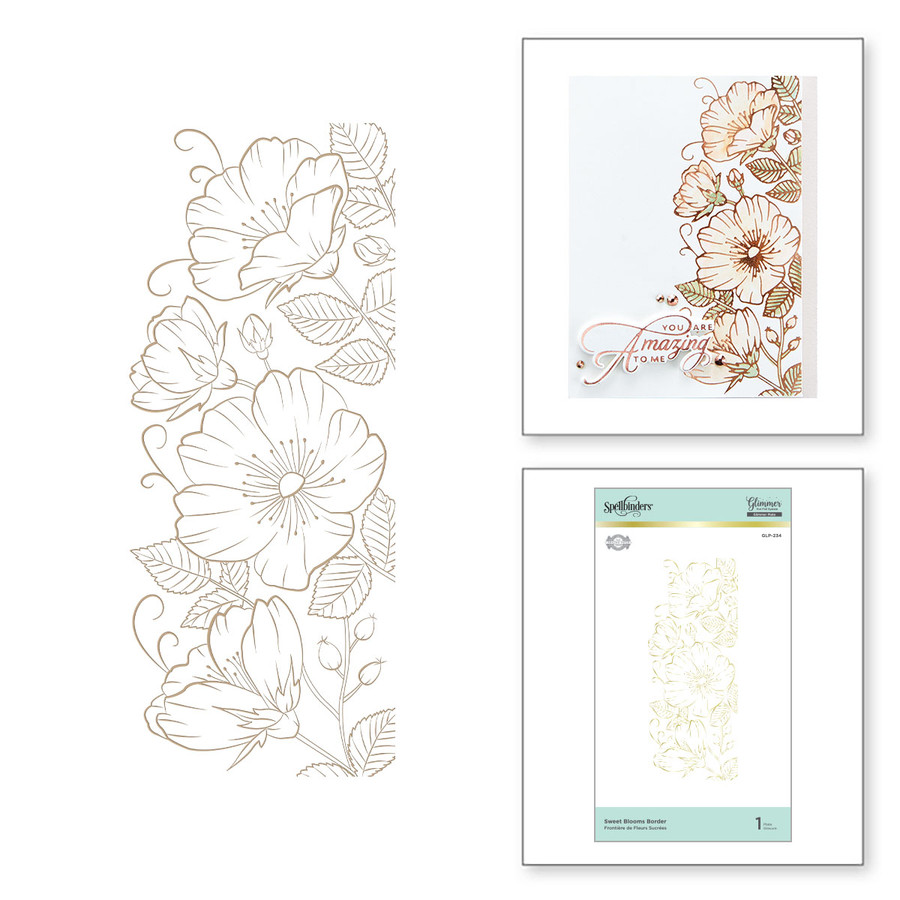Sweet Blooms Border Glimmer Hot Foil Plate from Delicate Impressions Collection by Becca Feeken