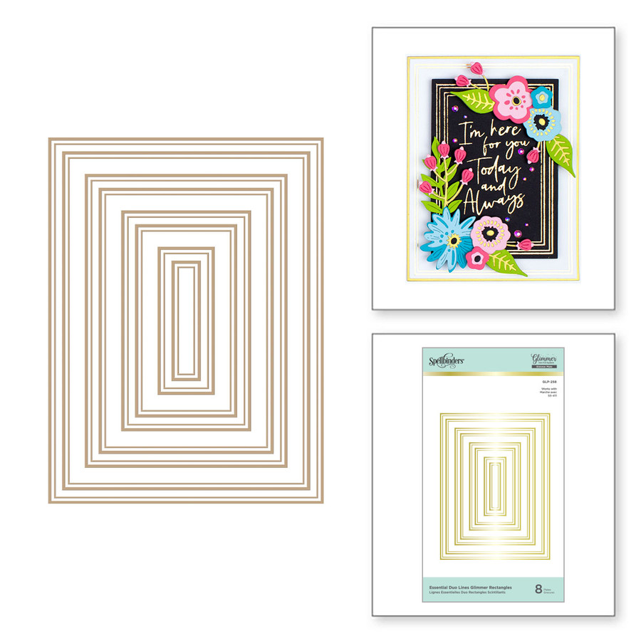 Essential Duo Lines Glimmer Rectangles Glimmer Hot Foil Plate from Glimmer Essentials Collection