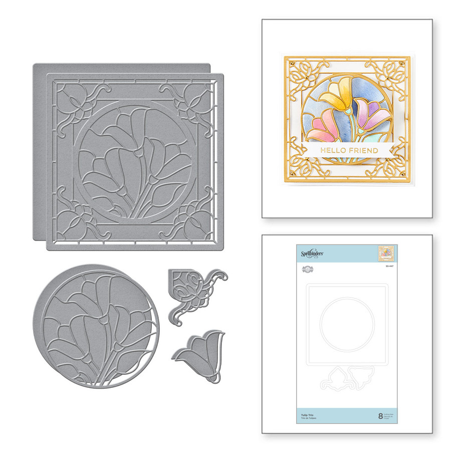 Tulip Trio Etched Dies from Stained Glass Bouquet Collection by Becca Feeken