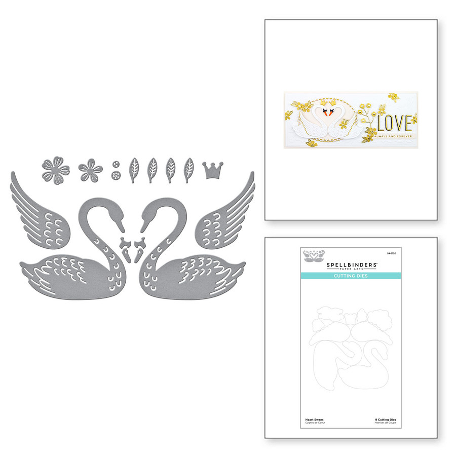 Heart Swans Etched Dies from Truly Yours Collection