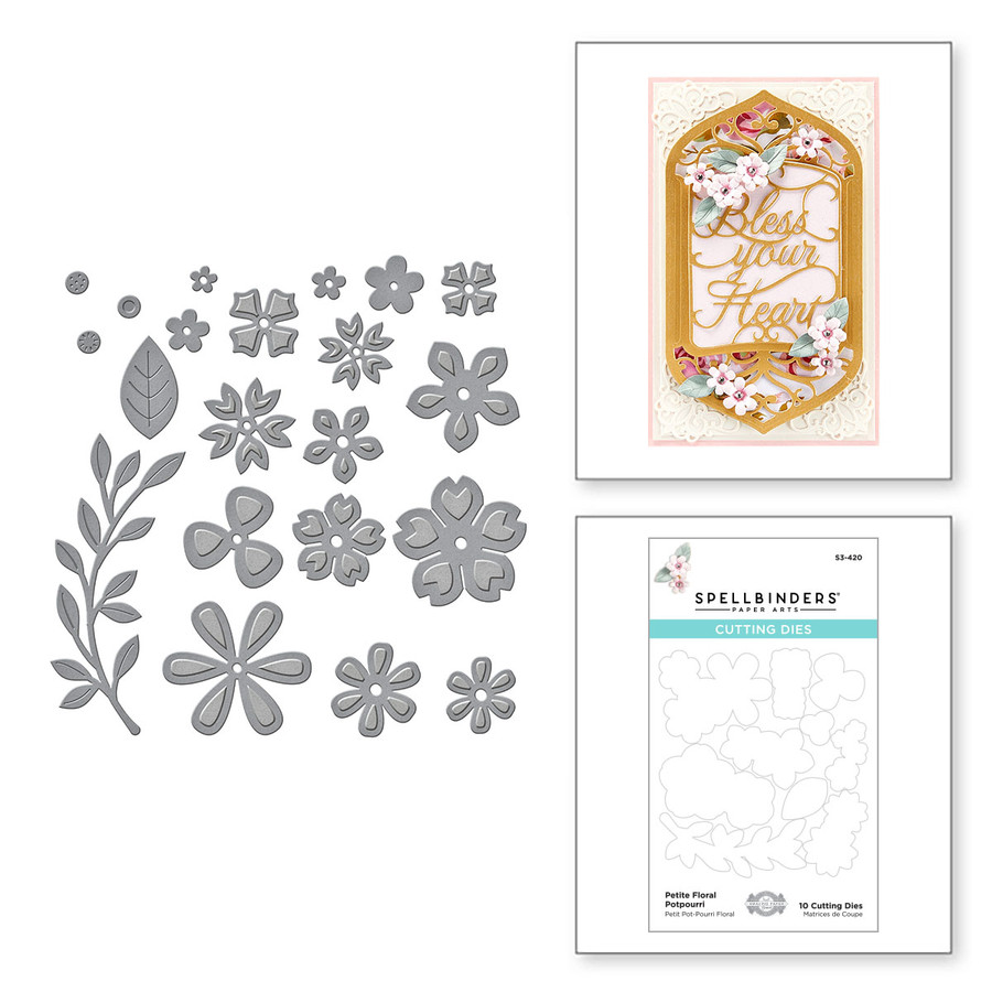 Petite Floral Potpourri Etched Dies from Beautiful Sentiment Vignettes Collection by Becca Feeken