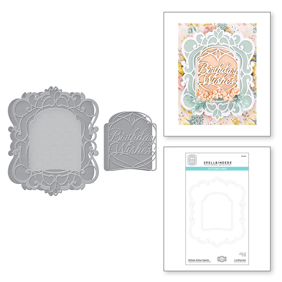 Birthday Wishes Vignette Etched Dies from Beautiful Sentiment Vignettes Collection by Becca Feeken