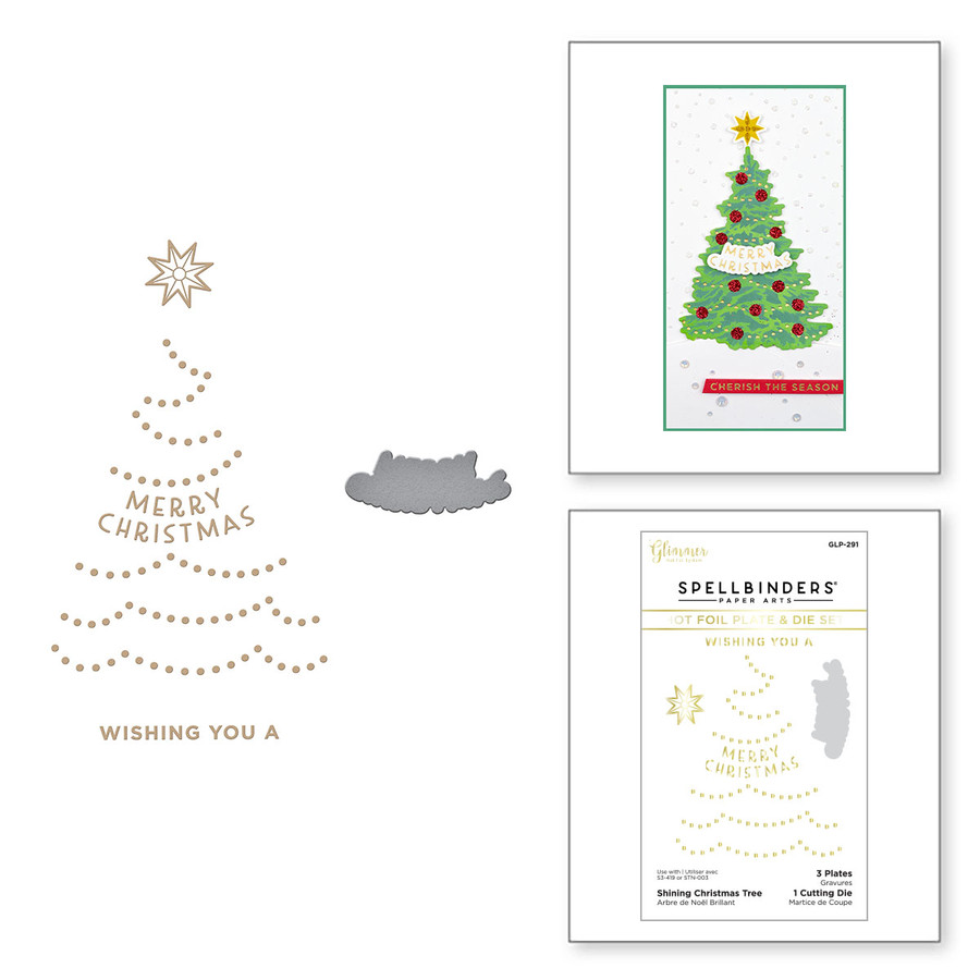 Shining Christmas Tree Glimmer Hot Foil Plate & Die Set from the Trim the Tree Collection