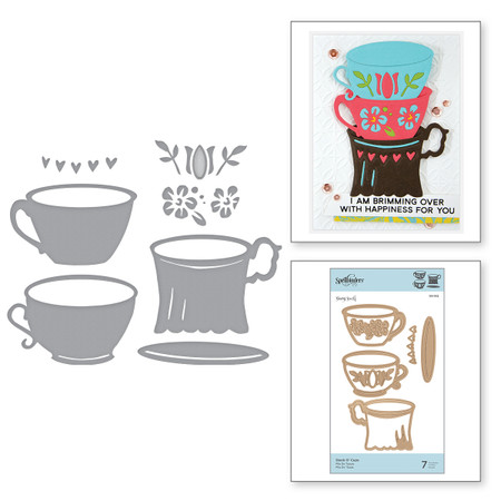 Shapeabilities Stack o' Cups Etched Dies Cuppa Coffee, Cuppa Tea Collection by Sharyn Sowell