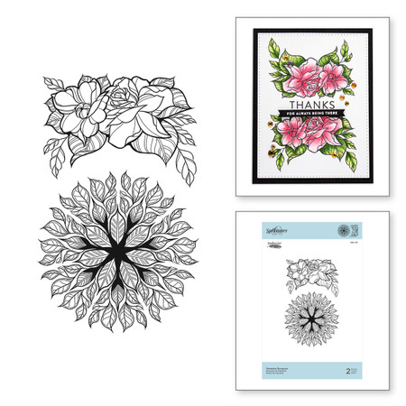 Mandala Bouquet Cling Rubber Stamps Just Add Color Collection by Stephanie Low