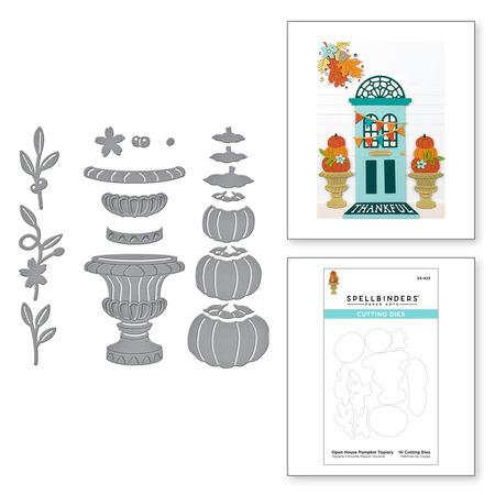 Open House Pumpkin Topiary Etched Dies from the Fall Traditions Collection