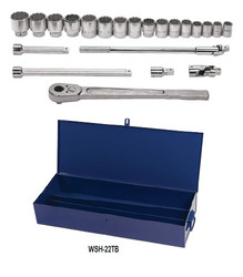 "7/8 - 2"" Williams 3/4"" Dr Shallow Socket & Tool Set 12 Pt 22 Pcs & Tool Box - WSH-22TB"