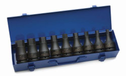 "1/2 - 1 1/4"" Williams 3/4"" Dr Hex Driver Impact Socket Set 9 Pcs & Tool Box- 38903"