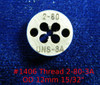 "Thread #2-80 UNS-3A; Precision Thread die for threading round stock diameter of die is 12mm / 15/32"".  Made of High speed Steel then hardened made in Switzerland."
