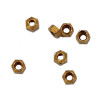 """Picture is of actual product aren't looking great! Machined Hex Nut Thread 000-120 class 2 thread  ACF 5/64"""" (across the flats) 2.00mm  Thickness 0.39"""" / 1.0mm Material: Brass Part Color Finish natural """"Brass color""""  Price is for 100 count package with bulk pricing available."""